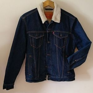 Levi's Sherpa lined jean trucker jacket dark wash